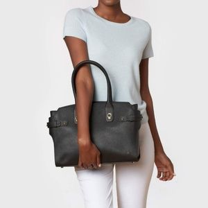 New Etienne Aigner Black Leather Dylan Tote NWT